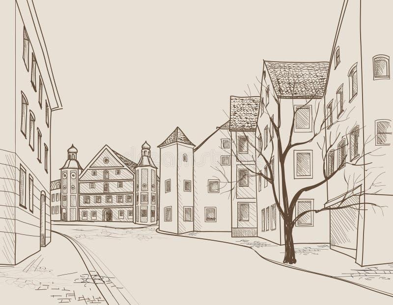 Vue de rue dans la vieille ville européenne Rétro paysage urbain - maisons, bâtiments, arbre sur l'allée illustration stock