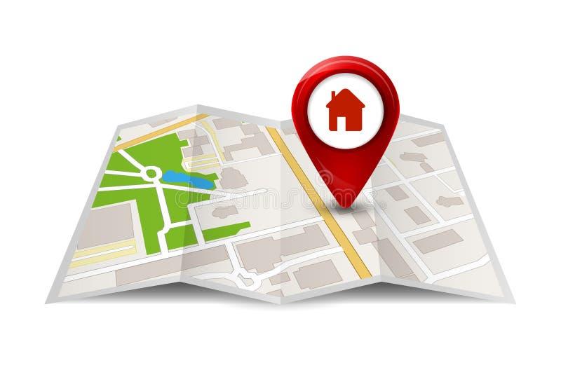 Vue de rue de carte de ville avec des labels ou des goupilles Symbole ou icône de voyage de GPS de vecteur illustration stock