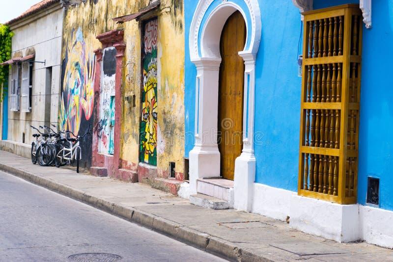 Vue de rue de Carthagène Colombie photographie stock libre de droits
