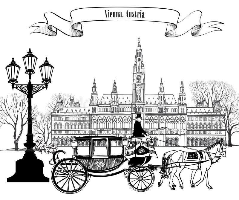Vue de rue de ville de Wien avec le rathaus et le chariot illustration stock