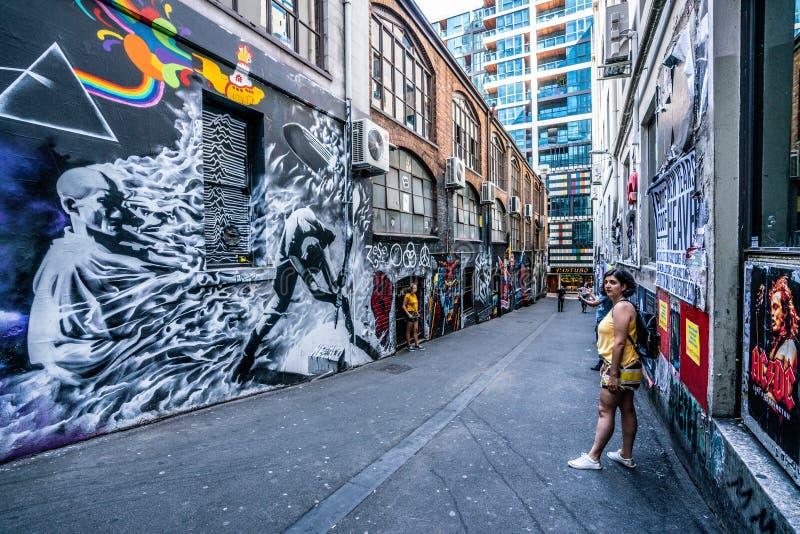 Vue de rue de ruelle d'AC/DC avec des personnes à Melbourne Australie images libres de droits