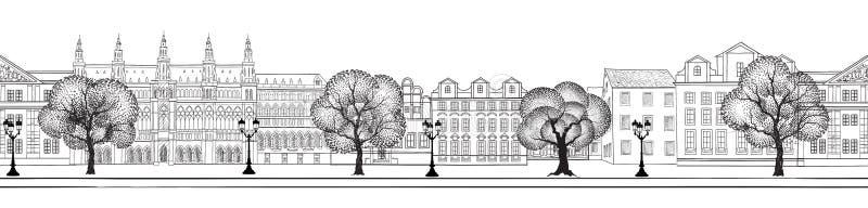 Vue de rue de ville Horizon sans couture de bâtiments de paysage urbain illustration libre de droits