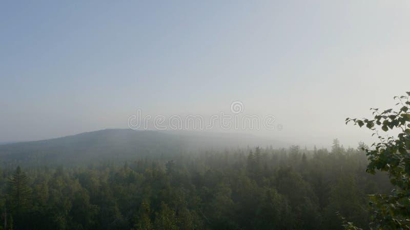 Vue de s-oeil de ` d'oiseau d'un coucher du soleil scénique au-dessus du Forest Hills Horizontal de montagne d'été Les tentes de  photo libre de droits