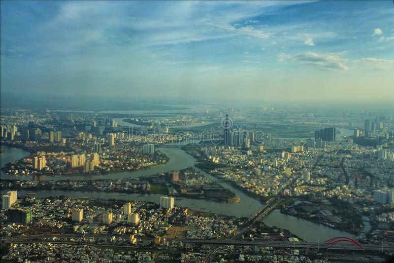 Vue de Saigon d'en haut Cityview capital aérien Ciel Ville Urbain Réseau fluvial rue photographie stock