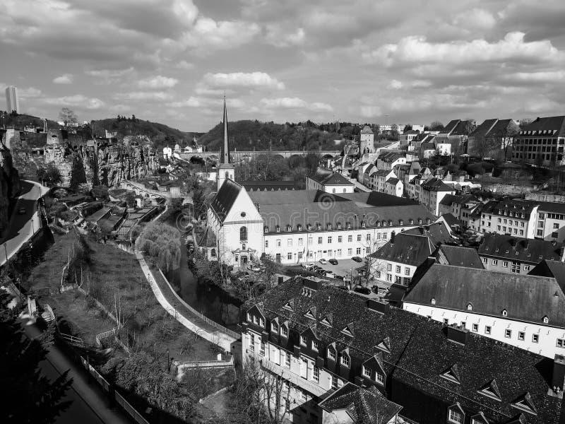 Vue de secteur de Grund dans la ville du Luxembourg, Luxembourg image libre de droits