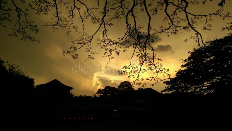 Vue de Silhoutte d'université de peradeniya, Sri Lanka photographie stock