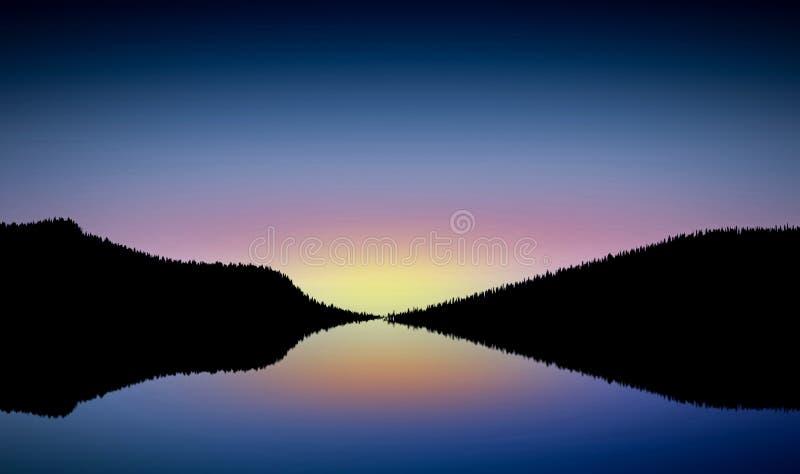 Vue de soirée d'un barrage illustration de vecteur