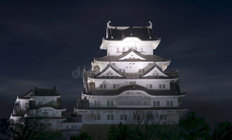 Vue de soirée de château de Himeji image libre de droits