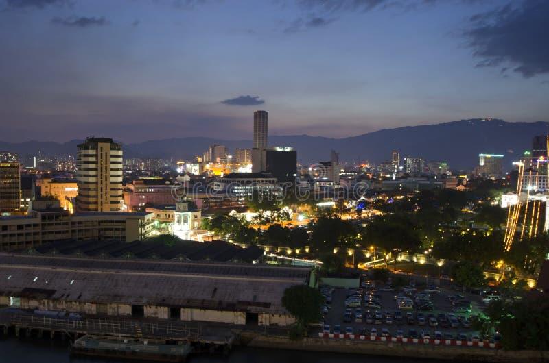 Vue de soirée de Georgetown, Penang, Malaisie photographie stock libre de droits
