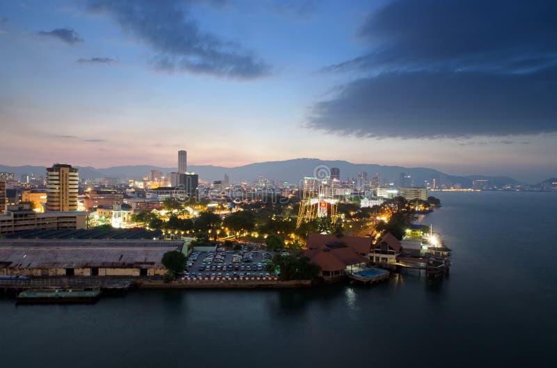 Vue de soirée de Georgetown, Penang, Malaisie photos libres de droits