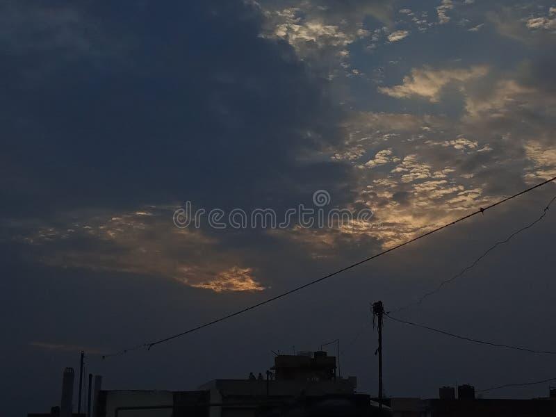 Vue de soirée de Patna dans la soirée d'été sur mon dessus de toit images libres de droits