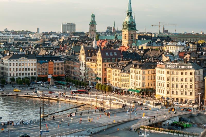 Vue de Stockholm de Katarinahissen images libres de droits