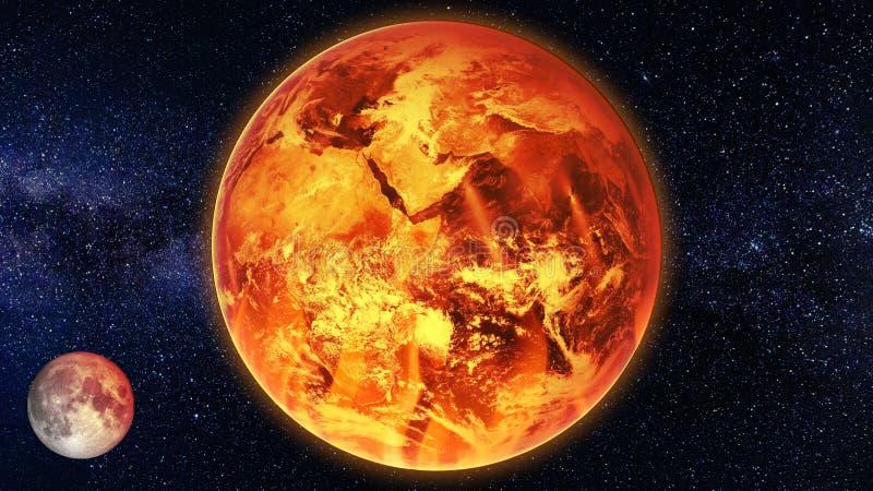 Vue de surchauffe de la terre de la mort de réchauffement global de concept d'art de l'espace image stock