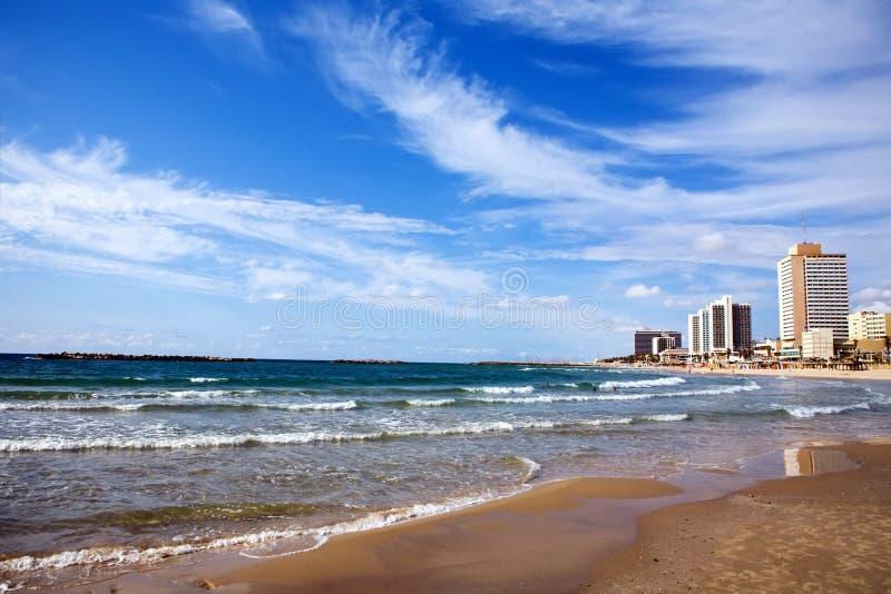 vue de téléphone de plage d'aviv photo stock