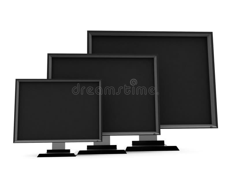 vue de télévisions de côté d'écran plat illustration libre de droits
