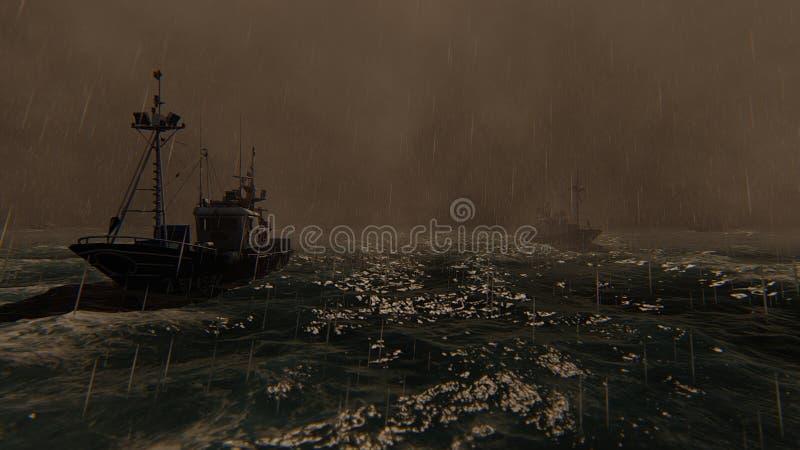 Vue de tempête de mer et des bateaux de pêche professionnelle rendu 3d illustration de vecteur