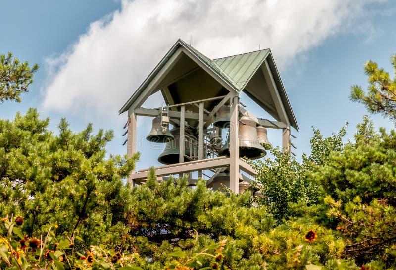 Vue de tour de Bell de carillon dans le jardin botanique de Chicago, Glencoe, Etats-Unis image libre de droits