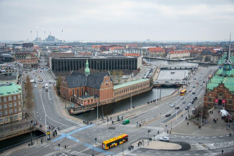 Vue de tour de château de Christiansborg Centre-ville de Copenhague denmark images stock