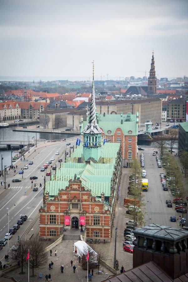 Vue de tour de Christiansborg copenhague denmark images libres de droits