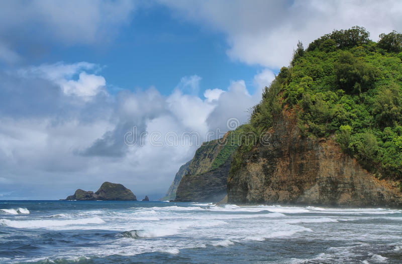 Vue de vallée de Pololu en grande île photographie stock libre de droits