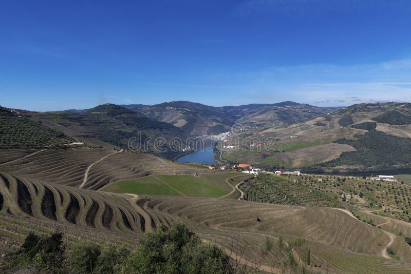 Vue de vallée de Douro avec le village de Pinhao, les vignobles en terrasse et la rivière de Douro, au Portugal images stock
