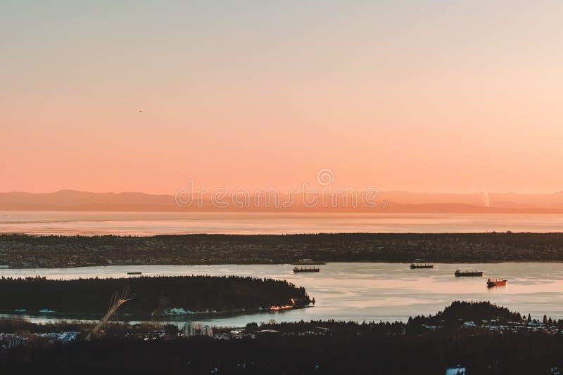 Vue de Vancouver de montagne de grouse à Vancouver du nord, AVANT JÉSUS CHRIST, le Canada images libres de droits