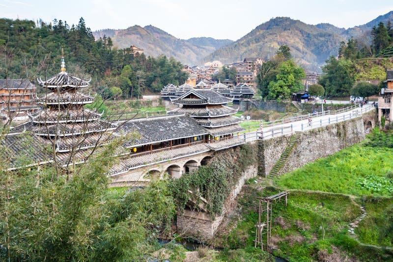 Vue de vent de Chengyang et de pont en pluie dans Sanjiang image libre de droits