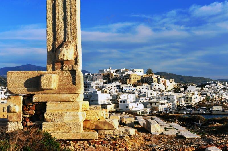 Vue de vieille ville de Chora, île de Naxos, Grèce images stock