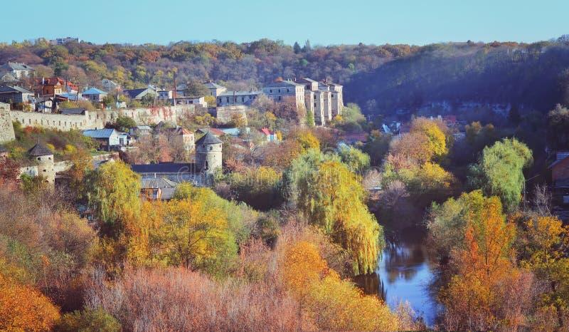 Vue de vieille ville de Kamenetz-Podolsk l'ukraine photo libre de droits