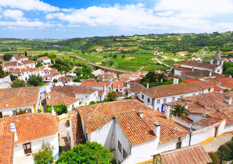 Vue de vieille ville Obidos au Portugal image stock