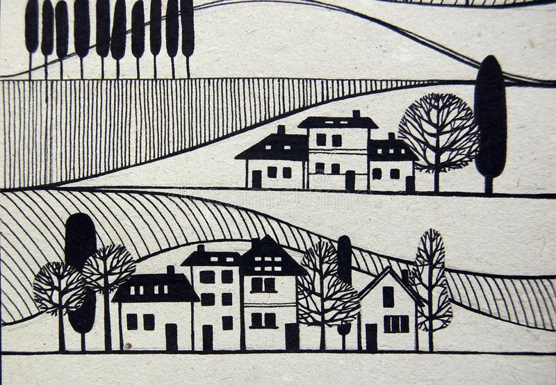 Vue de village avec des maisons et des arbres illustration stock