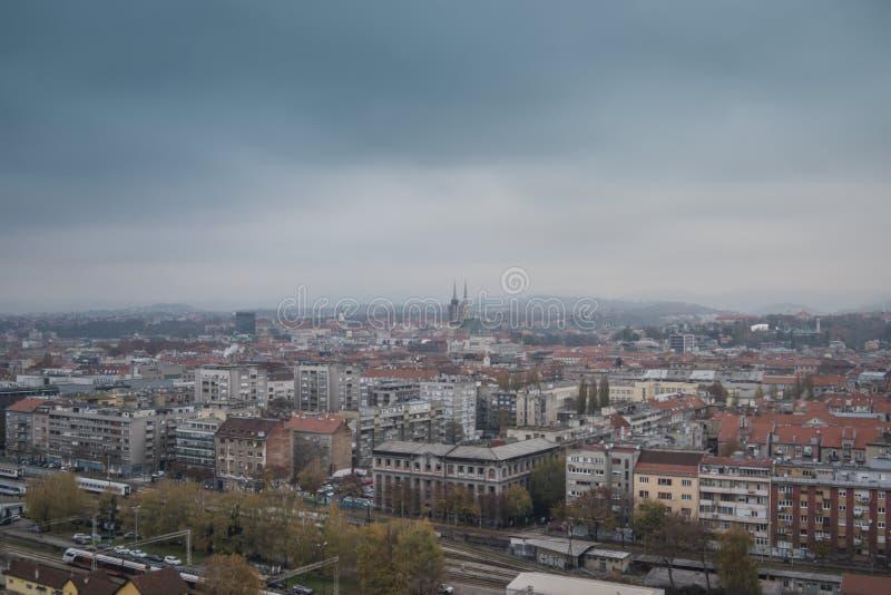 Vue de ville de ci-dessus, paysage urbain de capitale Croatie, Zagreb images stock