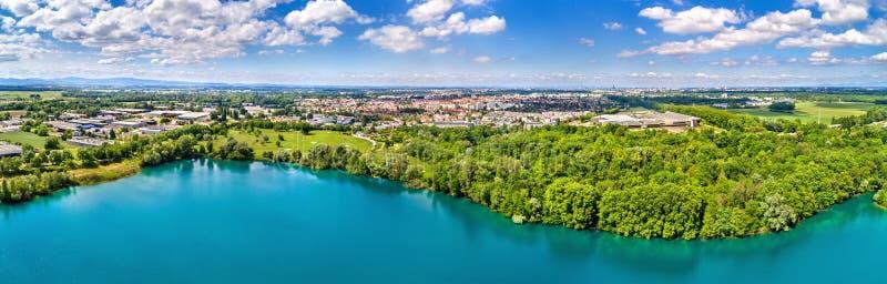 Vue de ville d'Illkirch-Graffenstaden près de Strasbourg - est grand, France images stock