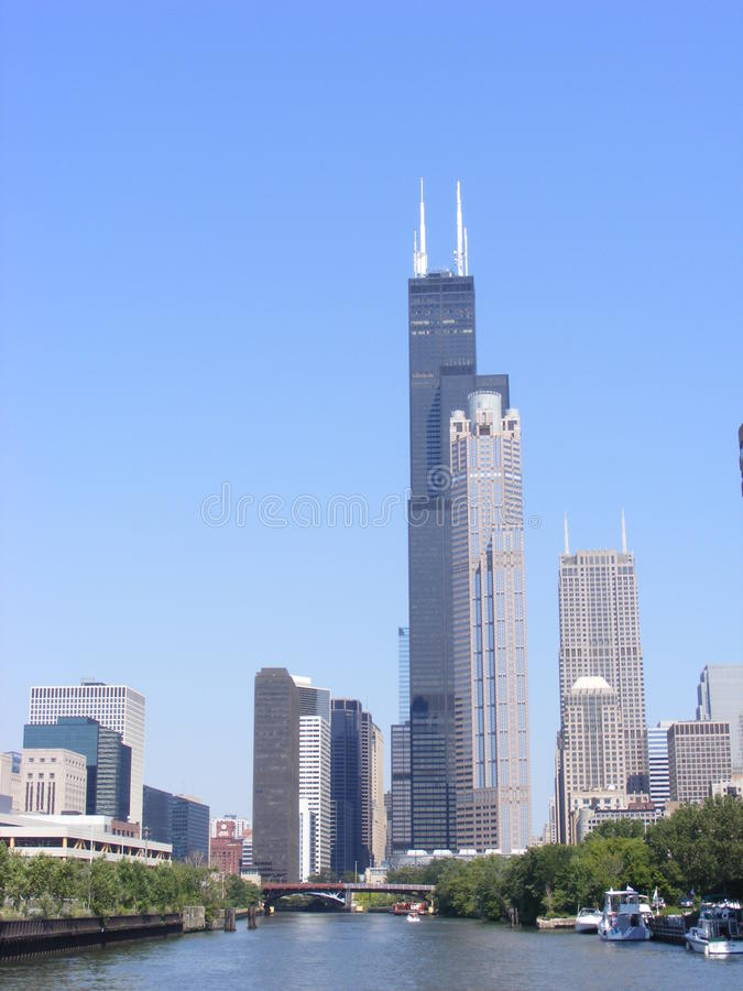 Vue de ville de Chicago du centre comportant le Sears Tower photographie stock