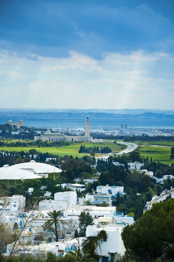 Vue de ville de Tunis de Sidi Bou dit photo libre de droits