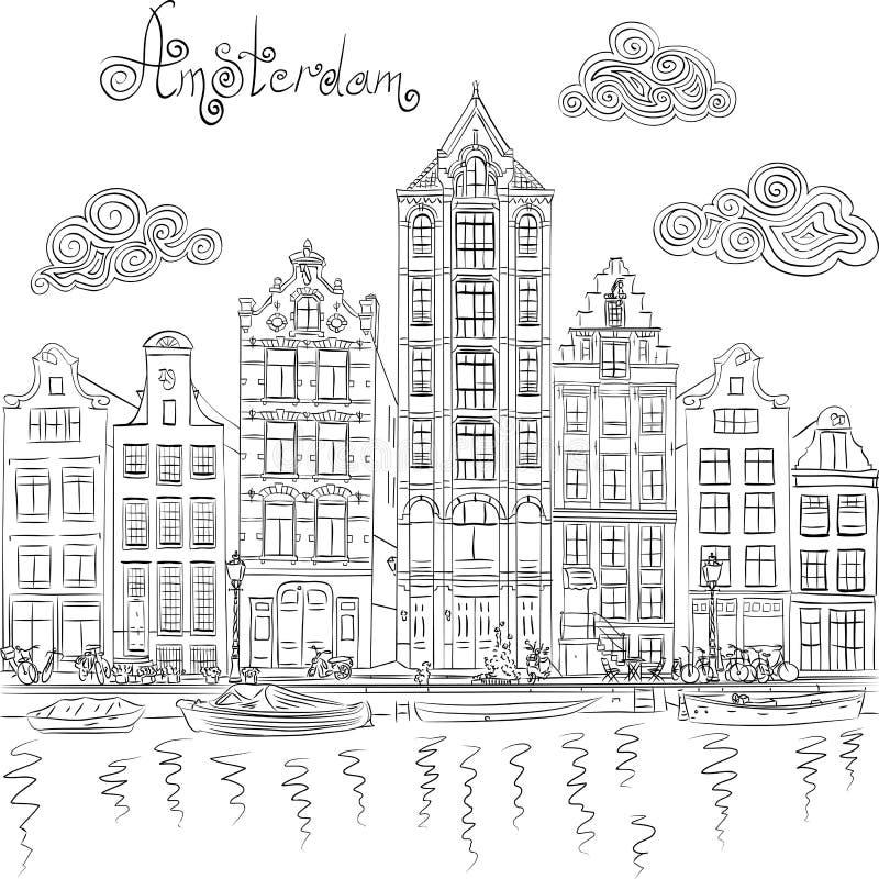 Vue de ville de vecteur de canal d'Amsterdam illustration libre de droits
