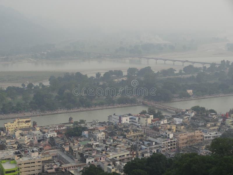 Vue de ville et de Ganga de Haridwar photographie stock libre de droits