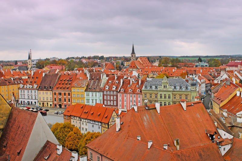 Vue de ville médiévale Cheb, République Tchèque photos stock