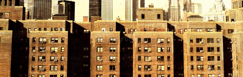 Vue de vintage d'horizon de New York City images libres de droits