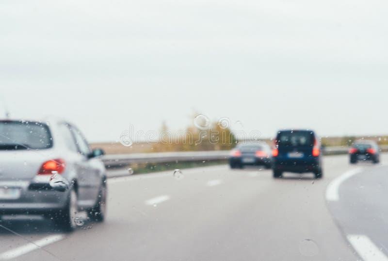 Vue Defocused d'autoroute de route images libres de droits
