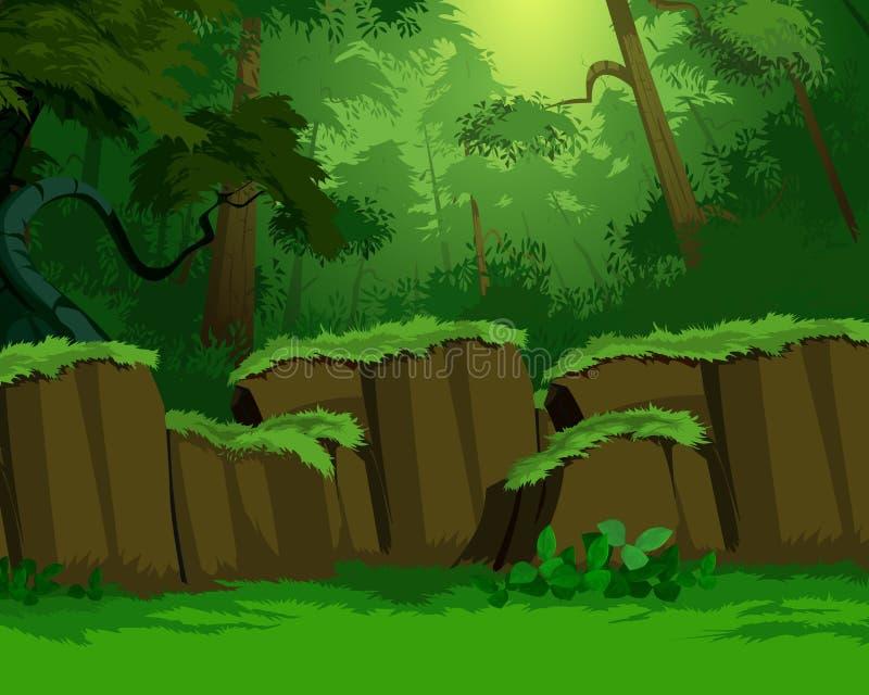 Vue dense de forêt illustration de vecteur