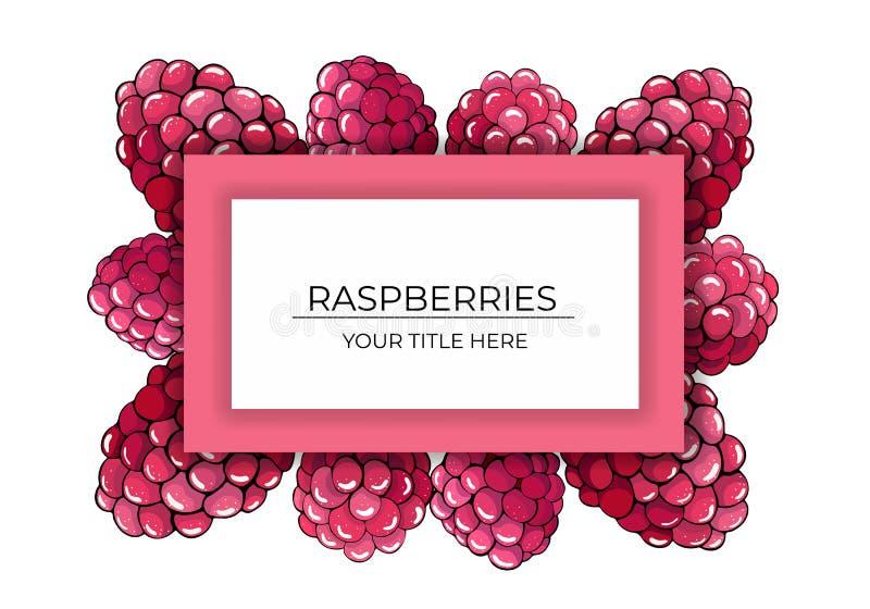 Vue des baies roses de framboise sur un fond blanc avec l'espace pour le texte illustration libre de droits
