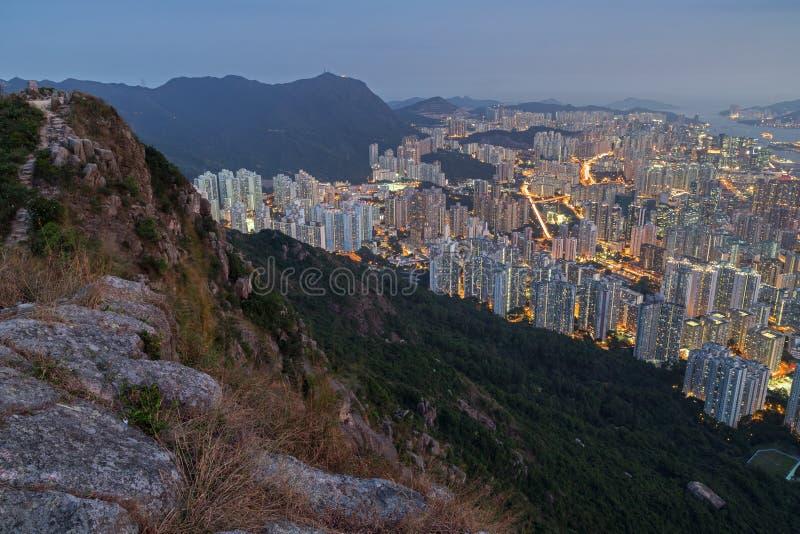 Vue des collines et du nouveau Kowloon en Hong Kong photos libres de droits