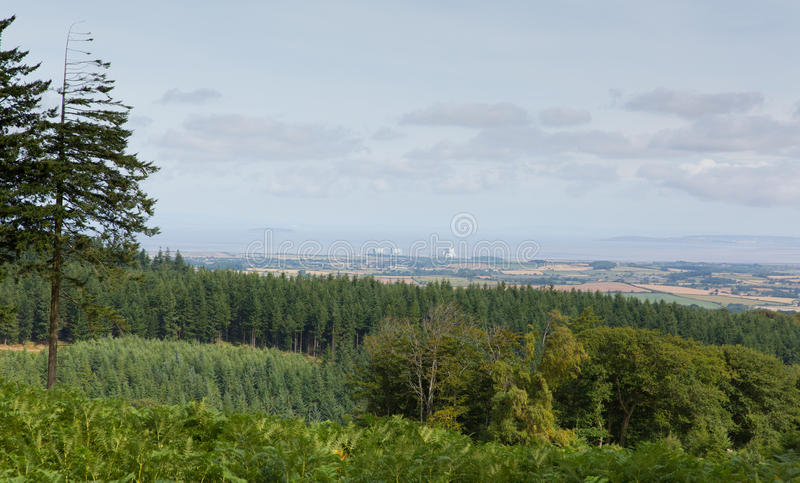 Vue des collines Somerset England de Quantock vers le point de Hinkley images libres de droits