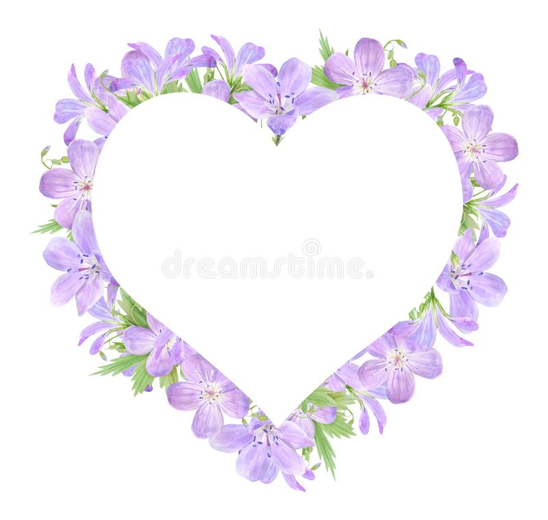 Vue des fleurs lilas de géranium d'aquarelle d'isolement sur le fond blanc Perfectionnez pour le logo, conception, cosmétiques co illustration libre de droits