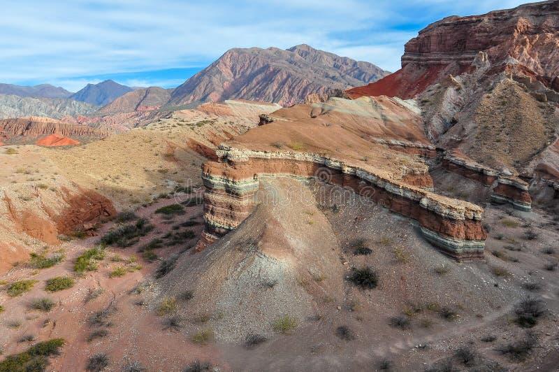 Vue des formations de roche dans Quebrada de las Conchas, Argentin photos stock