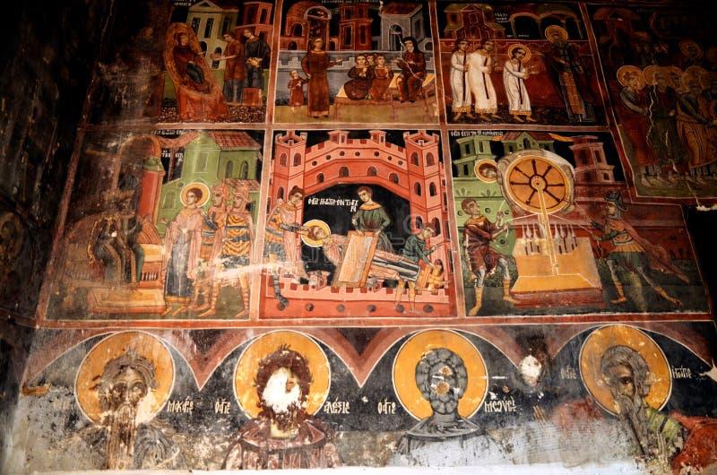 Vue des fresques dans l'église de Christian Orthodox du grec ancien images libres de droits