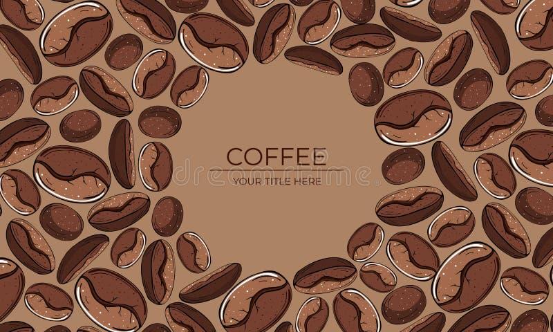 Vue des grains de café bruns avec l'espace rond pour le texte illustration stock