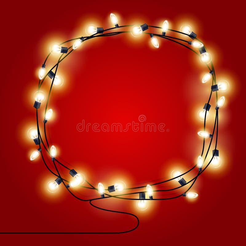 Vue des guirlandes brillantes de lumières de Noël - affiche de Noël illustration libre de droits