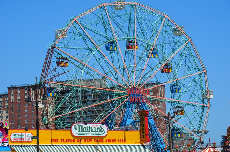 Vue des hot-dogs et de la Luna Park Wonder Wheel de Nathans de la plage à New York City dans le lapin photo stock